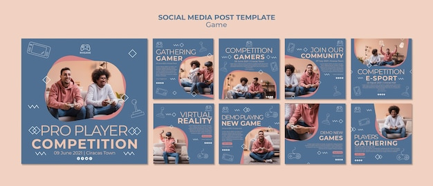 Gaming concept social media post template