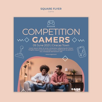 Gaming concept square flyer template