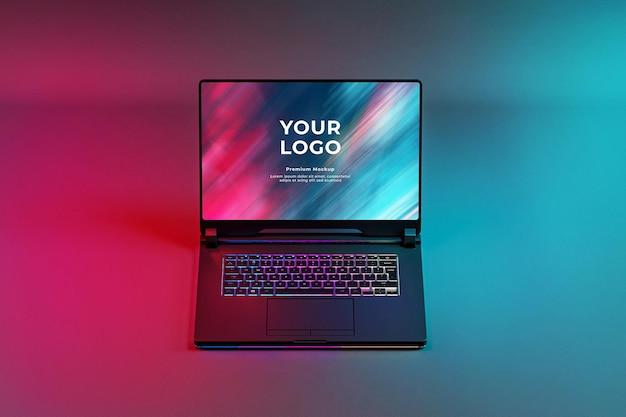 Gaming laptop mockup with rgb led keyboard