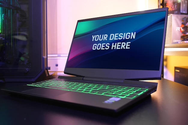 Gaming laptop on a table mockup