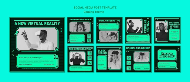 Gaming theme social media post template