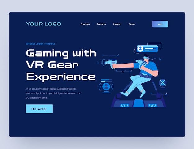 Игры с шаблоном веб-сайта виртуальной реальности