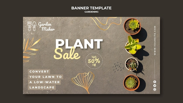 Gardening banner template with photo