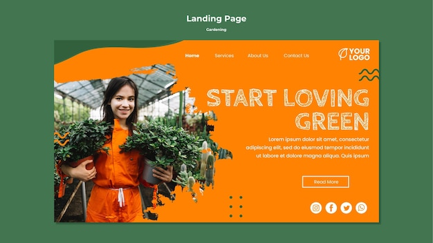 Gardening concept landing page template