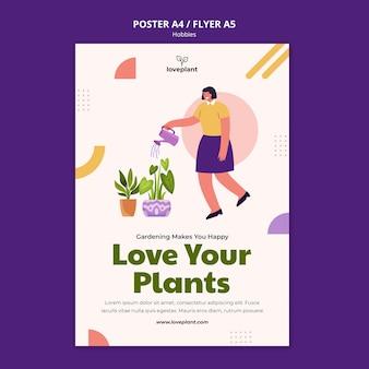 Gardening hobby poster template