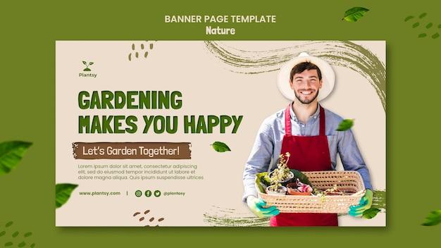 Modello di banner di suggerimenti di giardinaggio