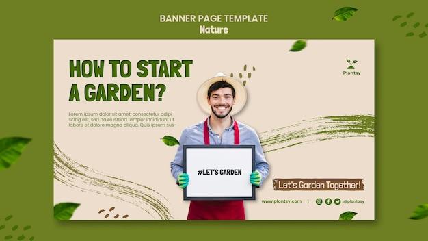 Banner orizzontale di suggerimenti di giardinaggio