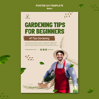 Gardening tips poster template Free Psd