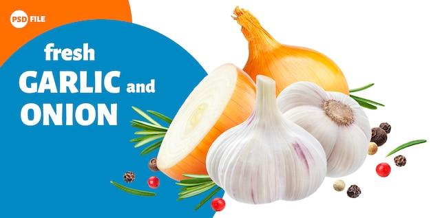 Garlic, onion and rosemary herbs