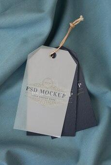 Garment hang label tag mockup