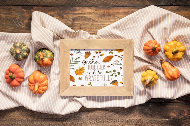 Gather together and be grateful mock-up quote top view