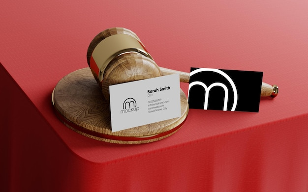 Gavel business card mockup for lawyers and judges