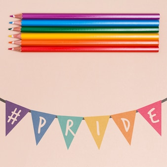 Gay pride background with colored pencils