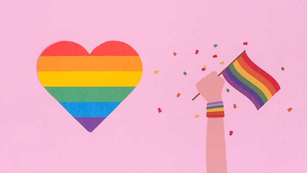 Gay pride background with a heart