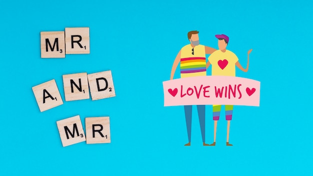 Gay pride background with a homosexual couple
