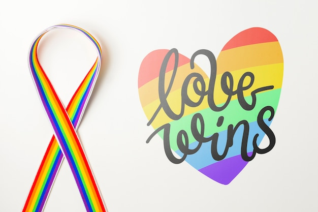 Gay pride mockup with ribbon