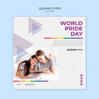 Gay pride square flyer design
