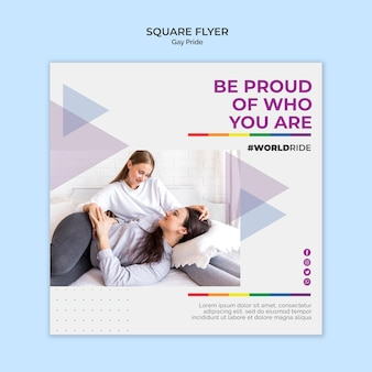 Gay pride square flyer template