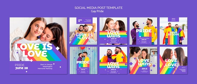 Gay prinde concept social media post template