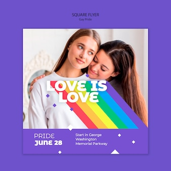 Gay prinde concept square flyer template