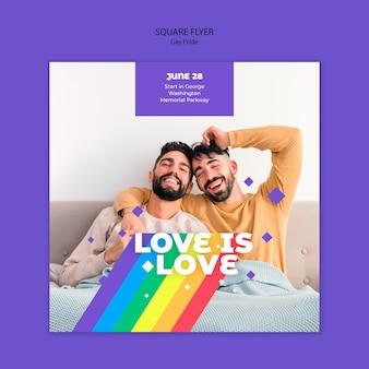 Gay prinde concept квадратный флаер шаблон