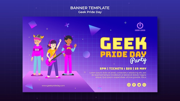 Geek pride day banner templatewith people cheering