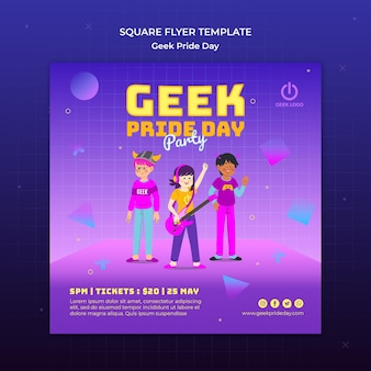 Geek pride day flyer template design