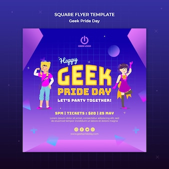 Geek pride day flyer template with people dancing