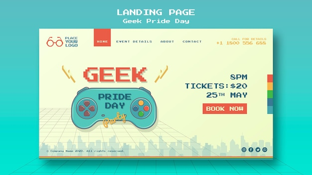 Geek pride day landing page template