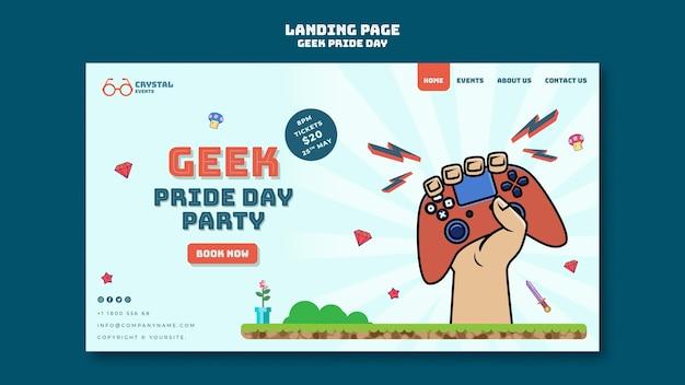 Modello di pagina di destinazione del giorno dell'orgoglio geek