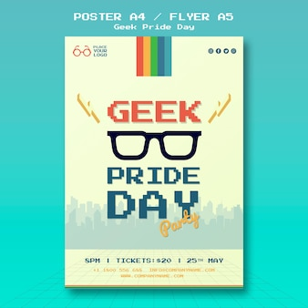 Geek pride day poster template