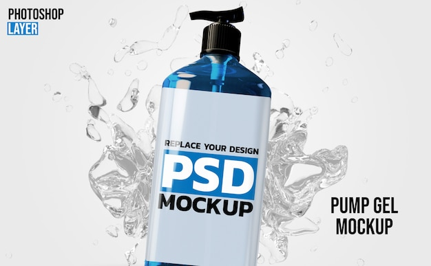 Gel pump bottle 3d rendering mockup