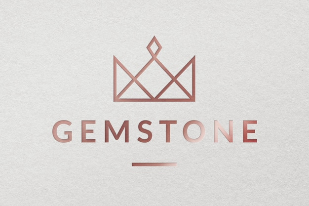 Modello psd del logo aziendale dei gioielli di pietre preziose in stile metallico