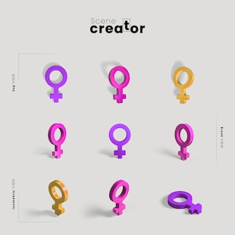 Gender sign set scene creator