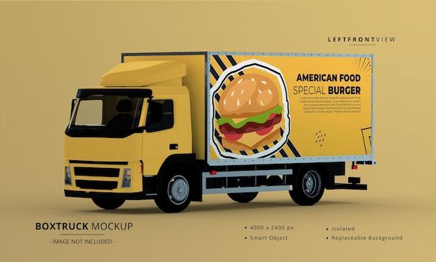 Generic big box truck car mockup left front view