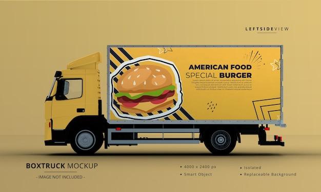 Generic big box truck car mockup left side view