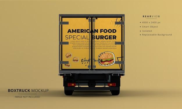 Generic big box truck car mockup rear view
