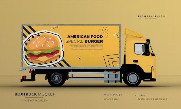 Generic big box truck car mockup right side view