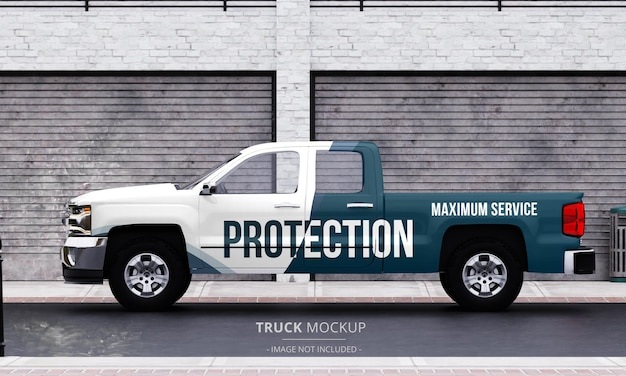 Generic pickup truck mockup on the street from left side view