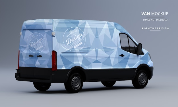 Generic utility van car mock up right rear view of van mockup