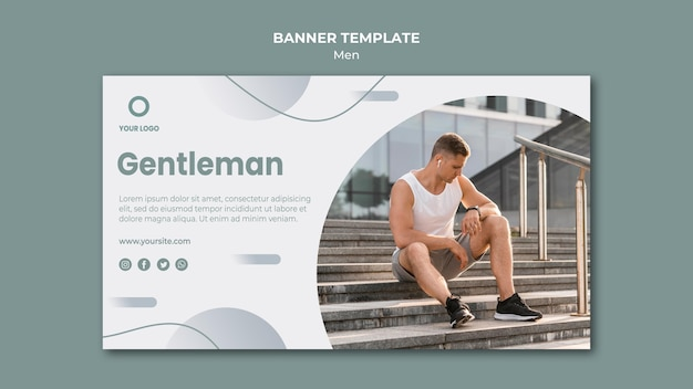 Gentleman doing sport outdoors banner template