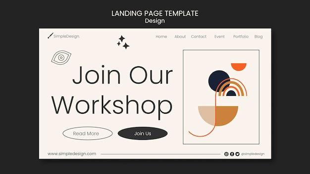 幾何学的なランディングページのデザインテンプレート