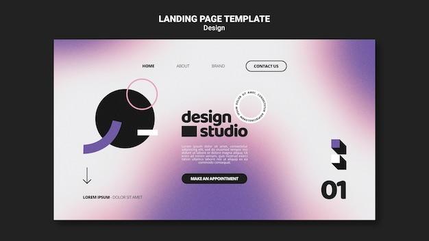 Geometric landing page template for design studio
