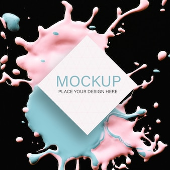 Geometric mockup with pink and blue liquid color on black background