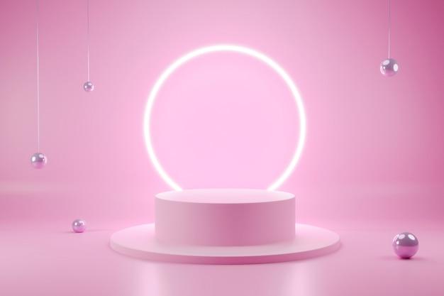 Геометрическая форма минималистичный подиум 3d интерьер сцены с редактируемым цветом