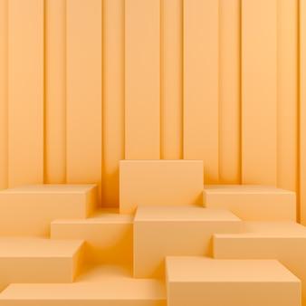 Geometric shape podium display in orange pastel background mockup