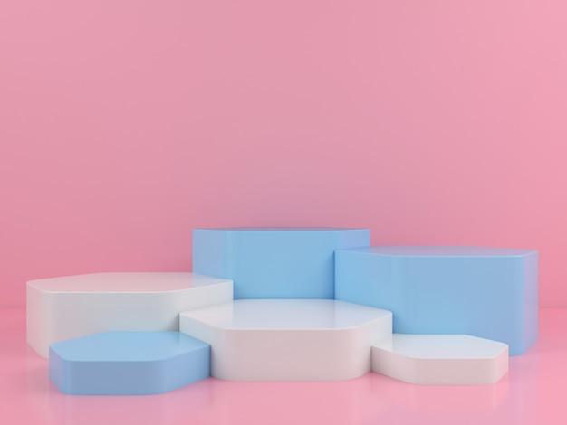 Геометрическая форма белый синий подиум макет дисплея