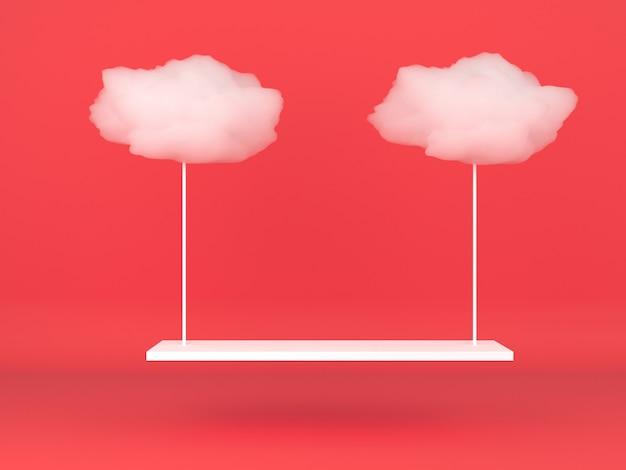 빨간색 파스텔 배경 모형에 기하학적 모양 흰 구름 연단 표시
