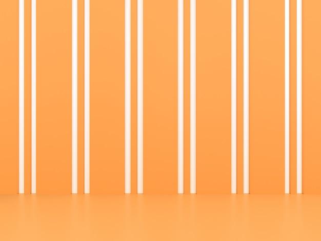 Geometric shape white line podium display in orange pastel background mockup