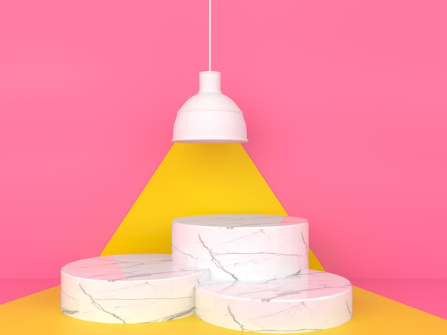 핑크 파스텔 배경 3d 렌더링에 기하학적 모양 흰색 대리석 연단 디스플레이